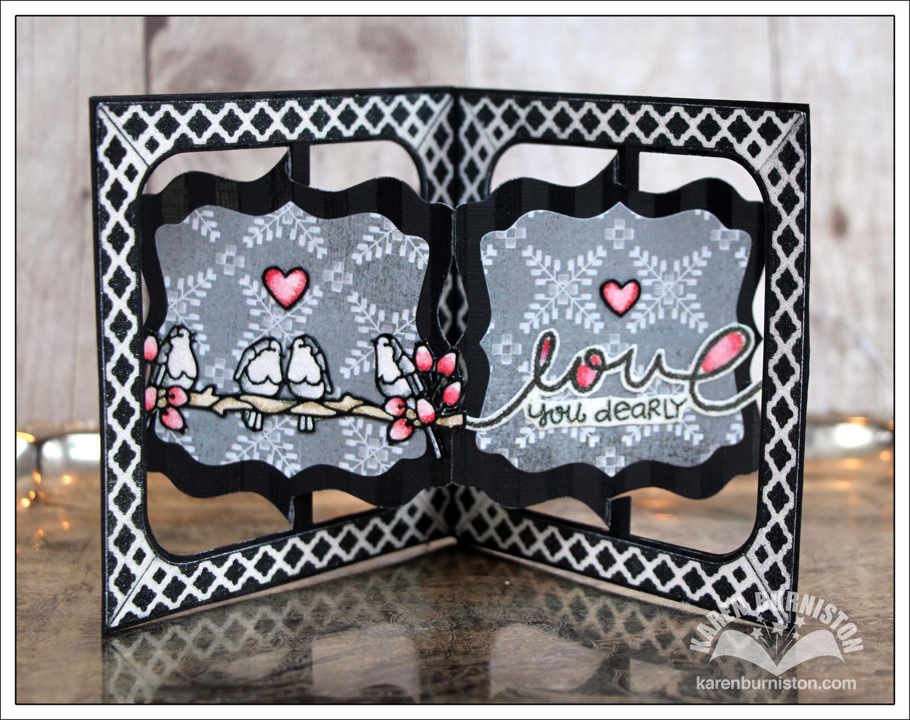Glittered fancy accordion card for Elizabeth craft designs glitter