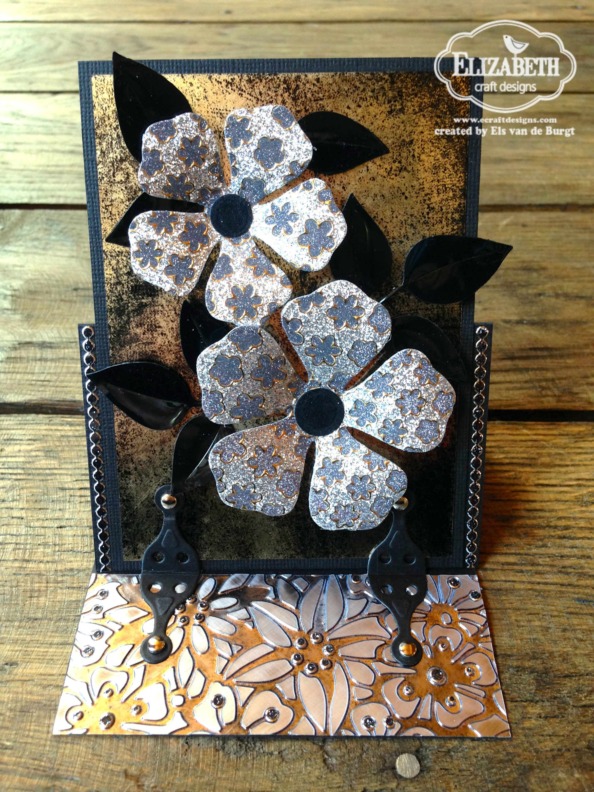 flower power stand up helper card elizabeth craft designs. Black Bedroom Furniture Sets. Home Design Ideas