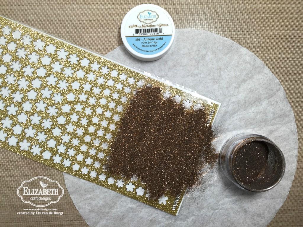Flower power stand up helper card for Elizabeth craft microfine glitter