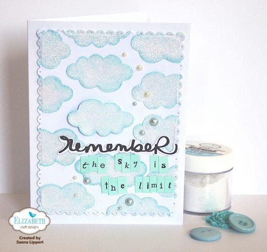 Glitter cloud card for Elizabeth craft microfine glitter
