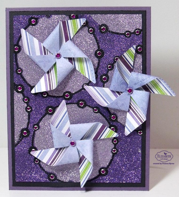 Pinwheel glittered card for Elizabeth craft microfine glitter
