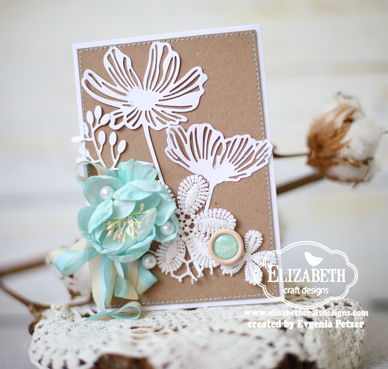 Romantic card for Elizabeth craft designs glitter