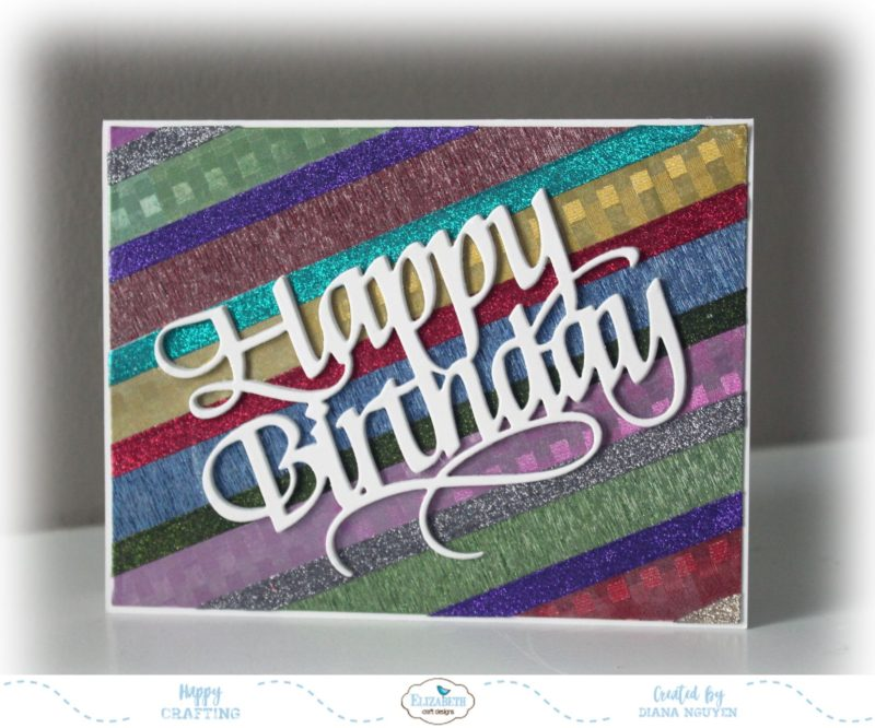 Happy birthday card two cards with one die cut using for Elizabeth craft microfine glitter